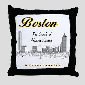 Boston_10x10_Skyline_TheCradleOfModer Throw Pillow