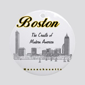 Boston_10x10_Skyline_TheCradleOfMod Round Ornament