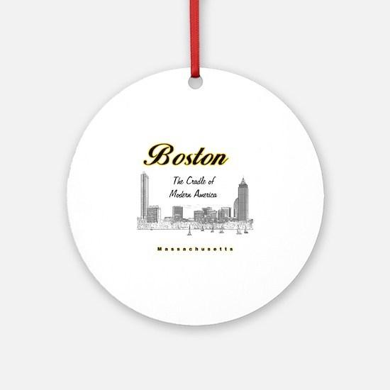 Boston_10x10_Skyline_TheCradleOfMod Round Ornament