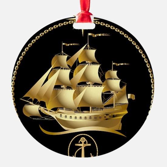 Golden-Sailboat Ornament