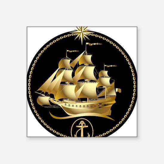 "Golden-Sailboat Square Sticker 3"" x 3"""