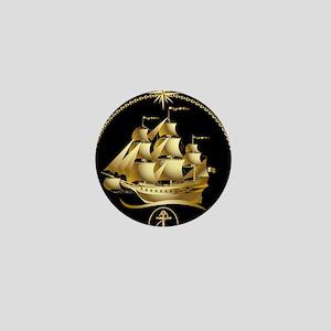 Golden-Sailboat Mini Button