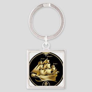 Golden-Sailboat Square Keychain