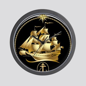 Golden-Sailboat Wall Clock