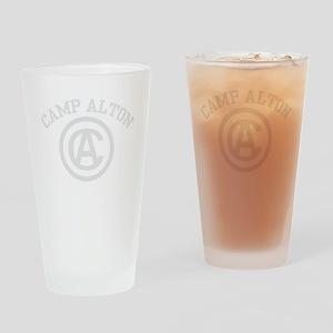 camp alton shirt logo white letters Drinking Glass