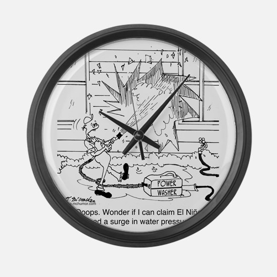 6414_power_washer_cartoon Large Wall Clock