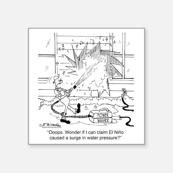 "6414_power_washer_cartoon Square Sticker 3"" x 3"""