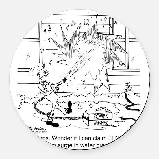 6414_power_washer_cartoon Round Car Magnet