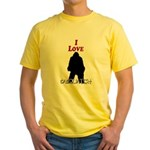 I Love Sasquatch Yellow T-Shirt