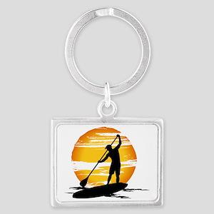 SUP Paddler Men cp Landscape Keychain