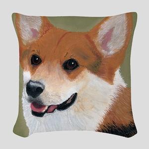 Tri Colored Corgi 2 Woven Throw Pillow