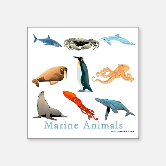 "Marine Animals-10x10_appare Square Sticker 3"" x 3"""