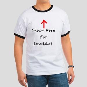 Shoot Here For Headshot Black Ringer T