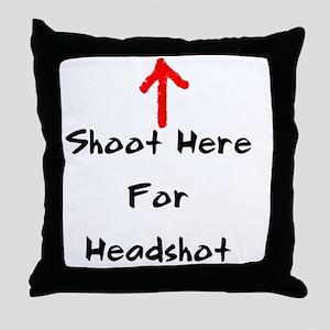 Shoot Here For Headshot Black Throw Pillow