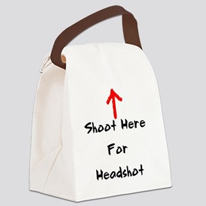 Shoot Here For Headshot Black Canvas Lunch Bag