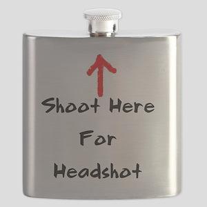 Shoot Here For Headshot Black Flask