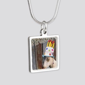 Happy Birthday from Ruby t Silver Square Necklace