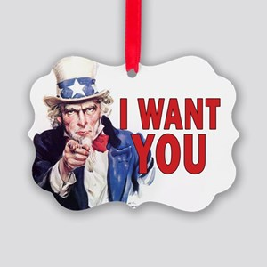 5x3oval_sticker_i_want_you Picture Ornament