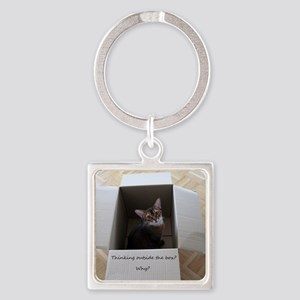 Thinking Outside the Box square Square Keychain