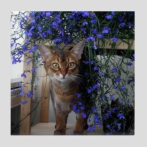Flower Cat Tile Coaster