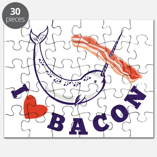 narwhal whale i love bacon Puzzle