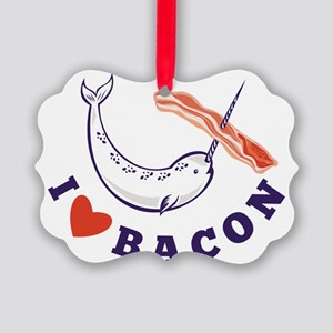 narwhal whale i love bacon Picture Ornament