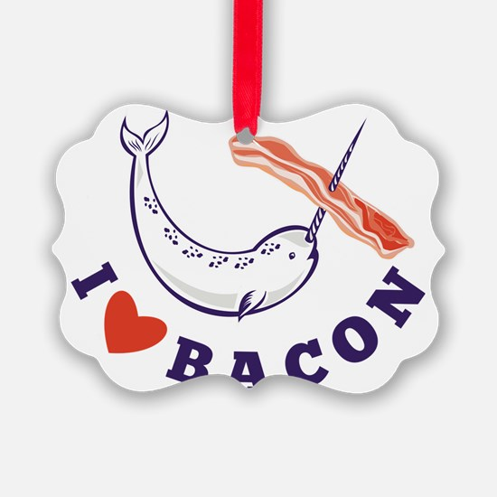 narwhal whale i love bacon Ornament