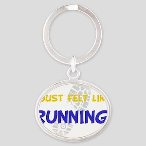 Dry Felt Like Running Yellow Oval Keychain