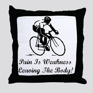 Dry Pain Is Weakness Black Throw Pillow