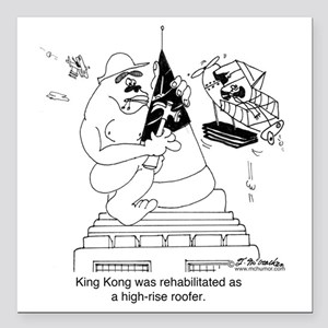 """6322_roofing_cartoon Square Car Magnet 3"""" x 3"""""""