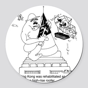 6322_roofing_cartoon Round Car Magnet