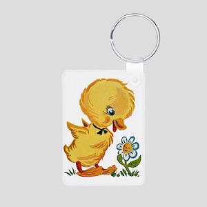 Duck and Flower Aluminum Photo Keychain