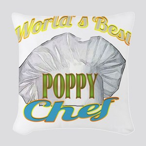 WORLDS BEST POPPY /CHEF Woven Throw Pillow