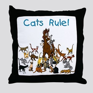 Cats and Horse Throw Pillow