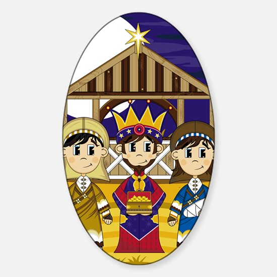 Nativity Pad Sticker (Oval)