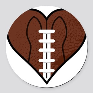 Football Heart Round Car Magnet