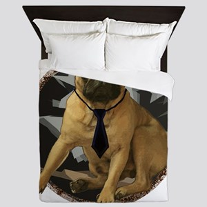 Pug in tie Queen Duvet