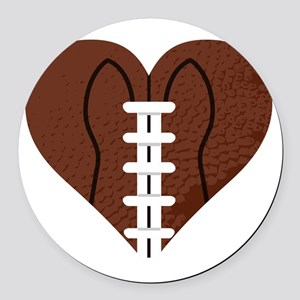 Love_Football_Heart Round Car Magnet