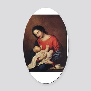 WWJD_White Text Oval Car Magnet