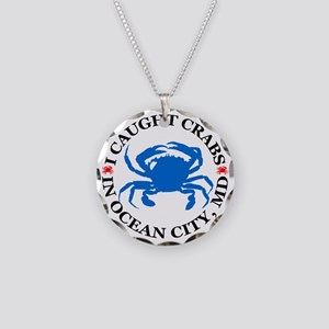 i caught crabs in Ocean City Necklace Circle Charm