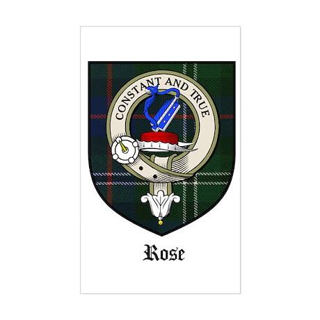Rose Clan Crest Tartan Rectangle Sticker
