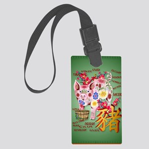 LargePosterYear Of The Pig In Fl Large Luggage Tag