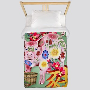 LargePosterYear Of The Pig In Flowers Twin Duvet