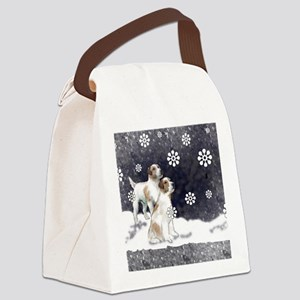 jack russell in the snow Canvas Lunch Bag