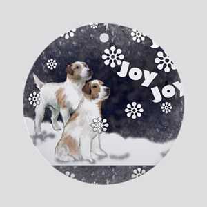 jack russell xnas card Round Ornament