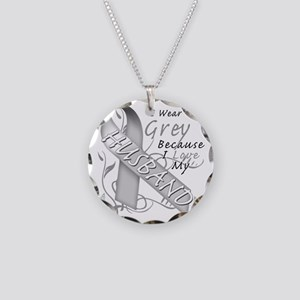 I Wear Grey Because I Love M Necklace Circle Charm