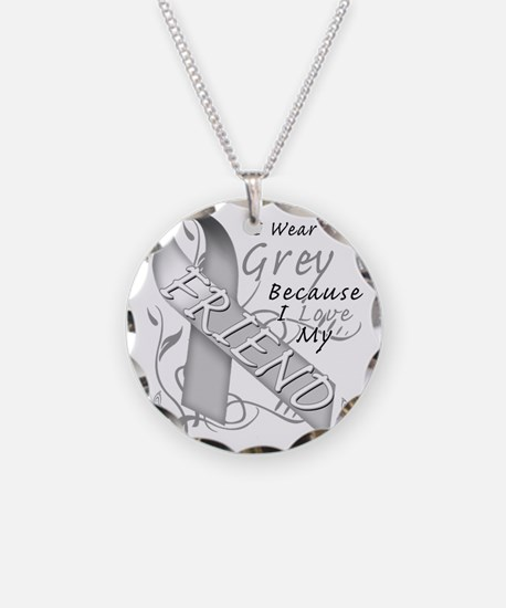 I Wear Grey Because I Love M Necklace