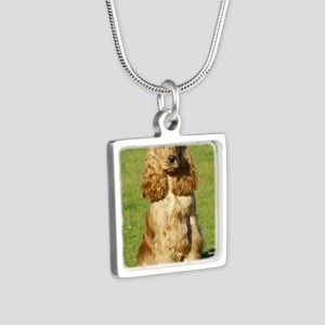 Cocker Spaniel 9P055D-057 Silver Square Necklace