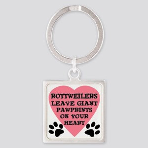 FIN-rottweiler-giant-pawprints-hea Square Keychain