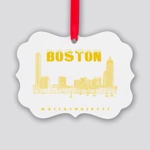 Boston_7x7_BostonSkyline_Yellow Picture Ornament